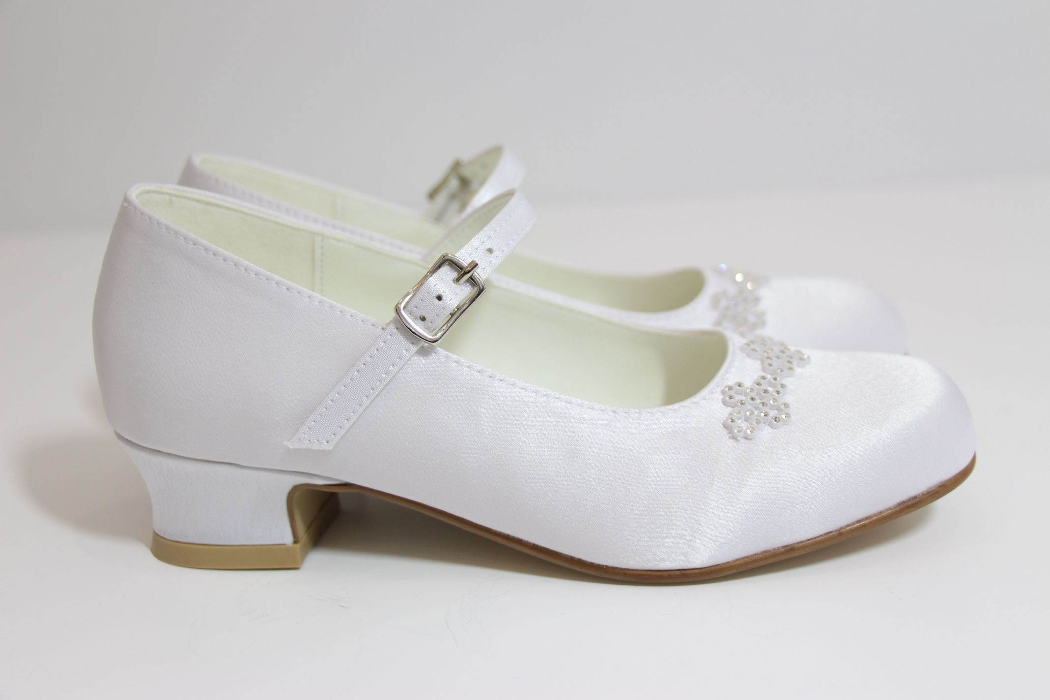 Girls White Satin Communion Shoes with